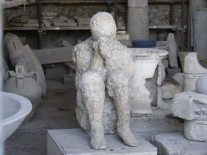 Cast of a victim of Mount Vesuvius